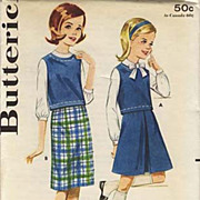 1950's Butterick # 2825 Sub-Teens Skirt & Blouse, Size 12 - Bust 30 / UNCUT /  Vintage / Retro