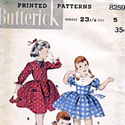 1940's Butterick #8259 Girls' Basque Dress Size 5, UNCUT, Retro - Vintage Printed Pattern, Bus