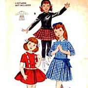 Retro 1940's Butterick #8686 Girls' Dress & Hat Size 6 - Bust 24 UNCUT Vintage Printed Pattern