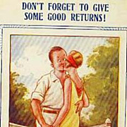 Collector's 1920's 'Tennis Comic' Bamforth Postcard 'Humor' - Couple Kissing on Tennis Court .