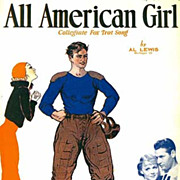 1932 `All American Girl' Sheet Music & Movie, RARE  College Football Song, Piano, Vintage
