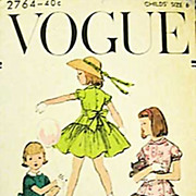 1950's Vogue #2764 Girls' Dress Size 6, Bust 24 - UNCUT, Retro, Vintage Printed Pattern, Child