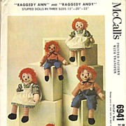 SOLD 1963 McCalls Raggedy Ann & Andy Doll Pattern - 6491 / Uncut / Vintage / Scarce