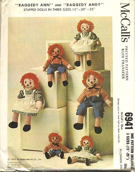 1963 McCalls Raggedy Ann & Andy Doll Pattern - 6491 / Uncut / Vintage / Scarce