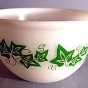 RARE Vintage 'Milk Glass' Bowl w/ Green Ivy Leaf Pattern / Vintage / Kitchenware / Dining .