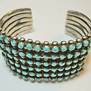 SOLD 1940's Zuni Sterling Silver / Turquoise Cuff Bracelet Vintage Southwestern / Native Ameri