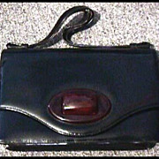 Stylish Vintage Black Leather Purse with BAKELITE Clasp - Made in Canada, Red Leather Interior