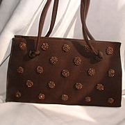 Brown Faille Evening Bag w/Copper Beading  by SOURE'