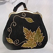 Painted Black Ribbed Velvet Handbag