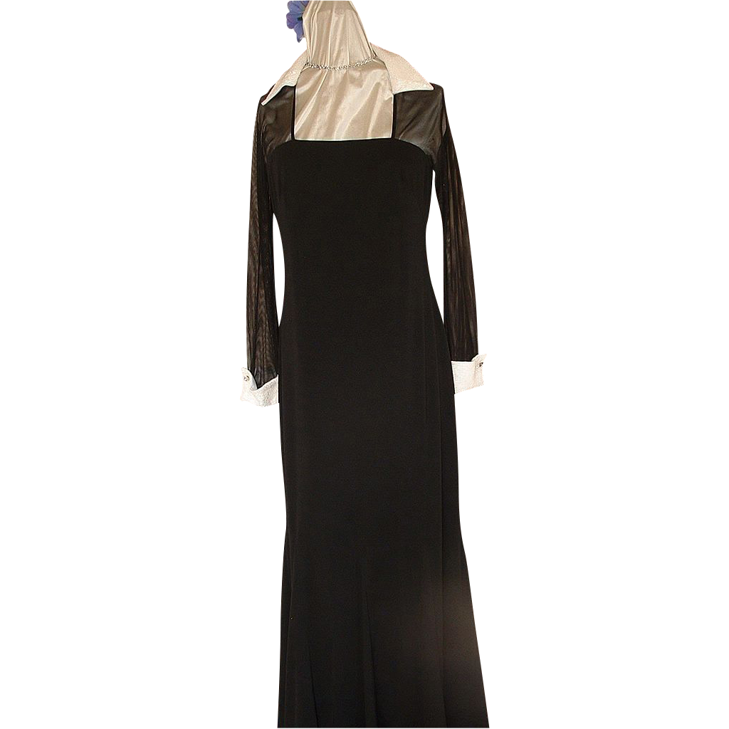 1980's Evening Gown Black w/White Beaded Collar & Cuffs