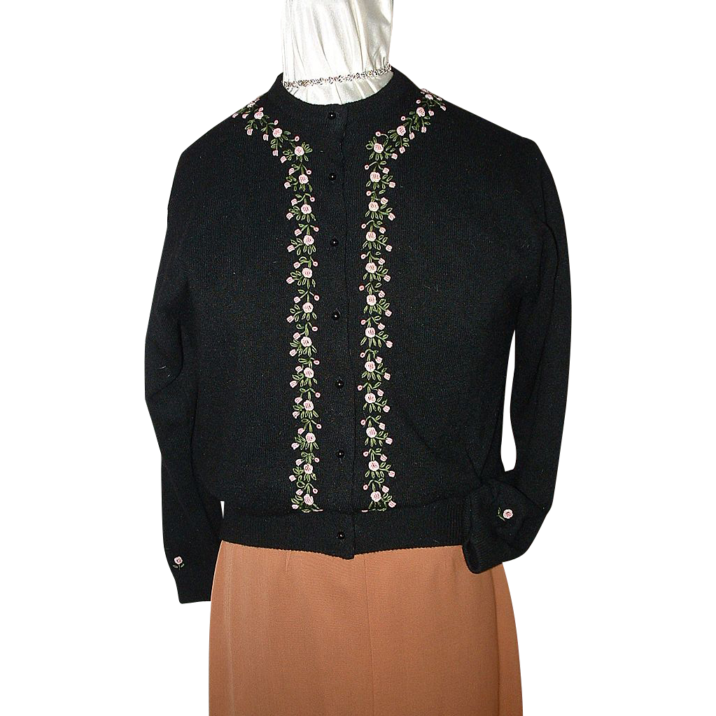 Black Sweater w/Embroidered Flowers & Leaves