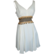 1950's White Crepe & Nude Mesh Dress w/Full Skirt