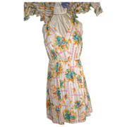 Cotton  Floral Print Dress with Matching Shawl  M/L