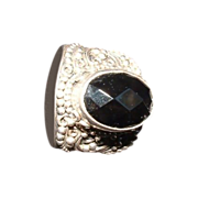 SALE Faceted Onyx Ring 925 Indonesia  sz 8