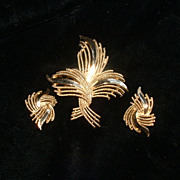 Gold Tone TRIFARI Brooch and Clip Earrings