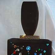 1940's Brown Suede Bejeweled Handbag