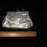 Whiting & Davis Silver Mesh Coin Purse w/Extension Chain