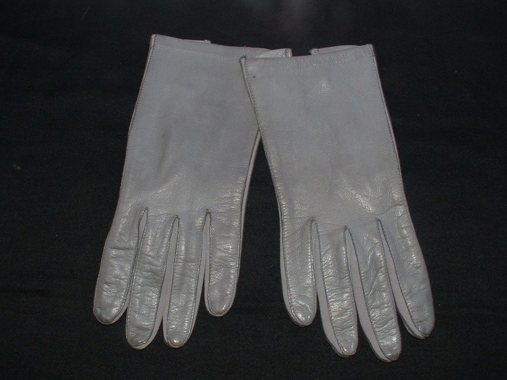 New/Old Ladies Grey Leather Driving Gloves 7 1/2
