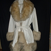 White Leather Coat/Sheepskin Trim sz 14