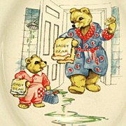 Vintage Toy Dish Teddy Bear Father and Son English C. 1940