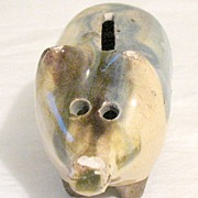 SALE 20% Off~Vintage Collectible Rare Czechoslovakia Pottery Piggy Bank Still Bank Marked 1897