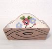 20% Off~Vintage Collectible Cleminson Pottery Co Miniature Tote Tray with Hand Painted Motif of Flowers 1941-63 Mint