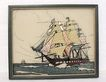 20% Off~Unique Vintage Collectible Silhouette With Foil Backing War Ship Under Full Sail 1930-50s