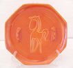 20% Off~Vintage Collectible Rare Red Wing Pottery Radiant Orange Ashtray With Raised Design of Horse 1950-60s