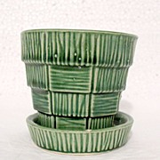 SALE 20% OFF Vintage Collectible McCoy Pottery Basket Weave Design on Green Flower Pot & Sauce