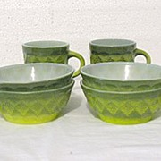 SALE 20% OFF Vintage Collectible Breakfast Sets by Anchor Hocking Fire King Green Bowls & Cups