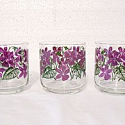 Vintage Collectible 3-sets of 8-Libby 8 Oz Glasses Made With Violet Decals 1950-60s Mint