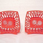 Vintage Collectible Pair of 1960s Red Plastic Napkin Holders with Daisy Motif Mint