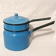 SALE 20% OFF Vintage Collectible All Blue Granite Ware Double Boiler With Black Trim & Knob Fi