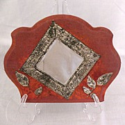 Unusual Vintage Collectible Victorian Era Wall Pocket~Beveled Mirror with Repousse Work Hand M