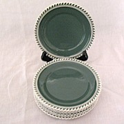 "Vintage Collectible (7) 6 1/4"" Bread & Butter Plates~Harker~Chesterton Olive Green Pate-S"