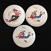 Vintage Collectible 3-Ponytail Doll/Kids Tin Dishes 1950-60s