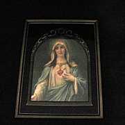 SALE 20% OFF Vintage Collectible Virgin Mary Immaculate Heart Print Art Deco Reverse Painted 1