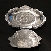 Vintage Collectible Hammered Aluminum Serving Trays~Rodney Kent~Tulip~1930-50~Mint Condition