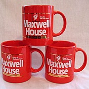25% OFF Vintage Collectible (6) Red Maxwell House Advertising Coffee Cups Advertising Instant