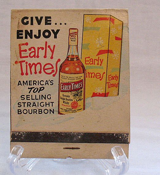 20 % OFF Vintage Collectible Large Advertising Match Book Early Times Whiskey 1950-60s Very Good Condition