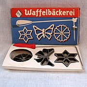 SOLD Vintage West Germany Waffle Baker Schulte 3-Wrought Iron Designs With Handle 1950-60s Ori