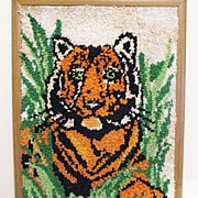 SALE Vintage Tiger Latch Hook Rug/Wall Display Folk Art 1960-70s Very Good Condition
