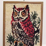 SALE 20% OFF Vintage Collectible Owl Latch Hook Rug/Wall Display Folk Art 1960-70s ...