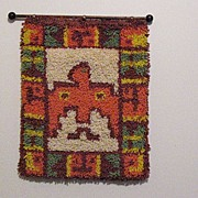 SALE 30% OFF Vintage Collectible Indian Water/Peyote Bird Latch Hook Rug 1960-70s Folk ...