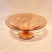 Vintage Rose Pink Low Footed Console Bowl With Etching & Optical Pattern 1930s Excellent Condi