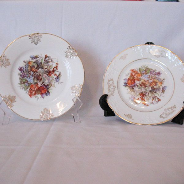 Vintage Collectible (2) Z S & Co 7 1/2&quot; Salad Plates Fine Porcelain 1880-1918 Excellent Condition
