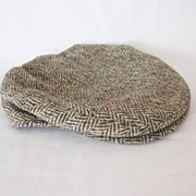 Vintage Collectible Hand Woven Harris Tweed Stetson Newspaper/Gatsby Hat 1920-30s Large Size E