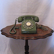 Vintage Collectible Avocado Colored Rotary Dial Telephone from 1960-70s Still in Excellent Wor