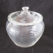 Vintage Crystal Cookie/Cracker Jar with Horizontal Ribs 1960s Mint Condition
