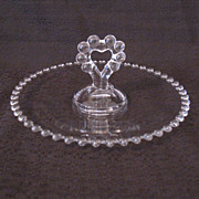 Vintage Imperial Candlewick 8 1/2 &quot; Tray Heart Shaped Handle Like New Condition 1936-1984
